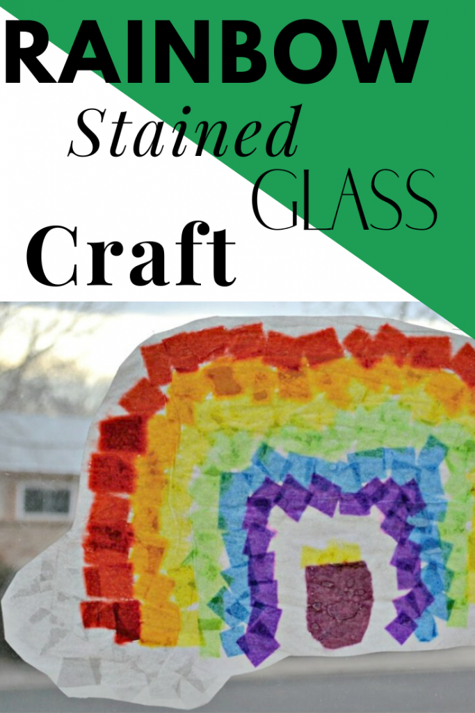 Rainbow Stained Glass Craft for Preschoolers. Great spring time crafts for toddlers. St. Patrick's Day Craft for Preschoolers.