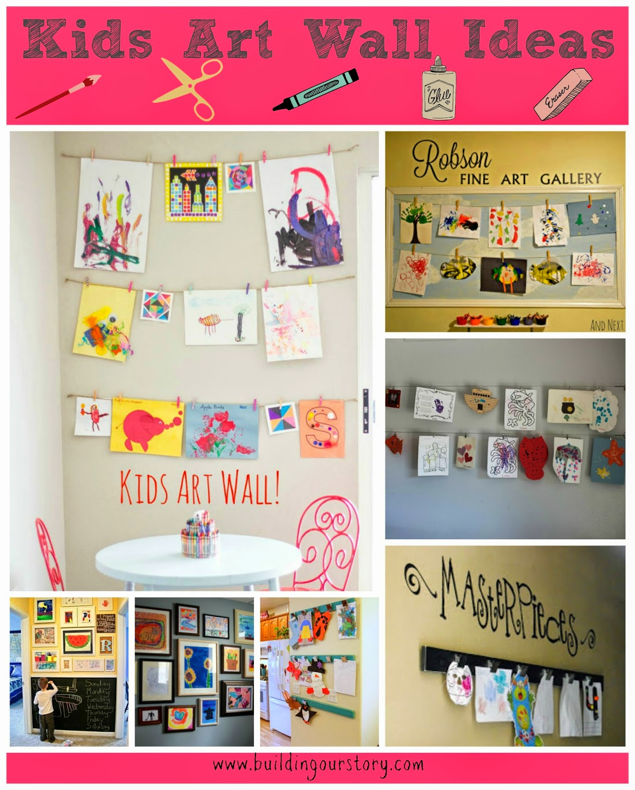 Kids art wall ideas building our story for Kids wall art