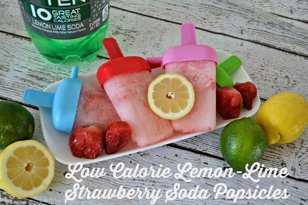 A Low Calorie Summer Treat: Lemon-Lime Strawberry Soda Popsicle #Recipe #TENways #PMedia