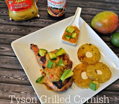 #ad Grilled Cornish Hens with Teriyaki Mango Salsa #Recipe