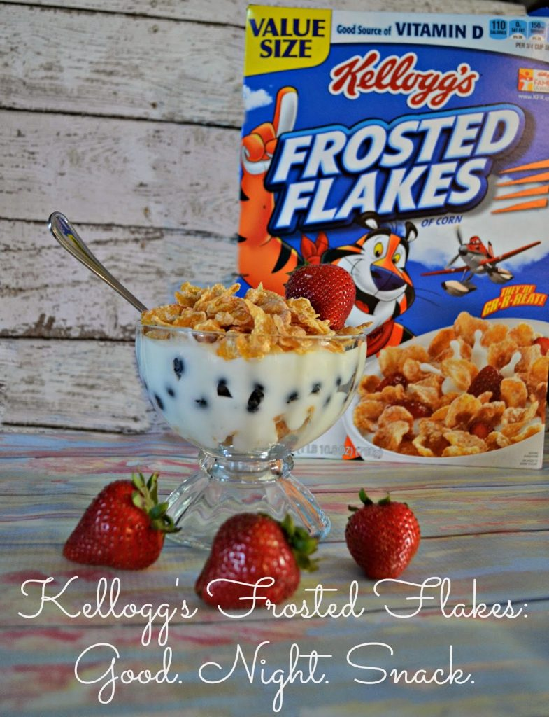 Kellogg's, Kellogg, Frosted Flakes, Froot Loops, Good.  Night.  Snack. Good night snack.  Snacks for Toddlers.  Bedtime snack.  Cereal Parfaits.  Fruit and Yogurt Parfaits