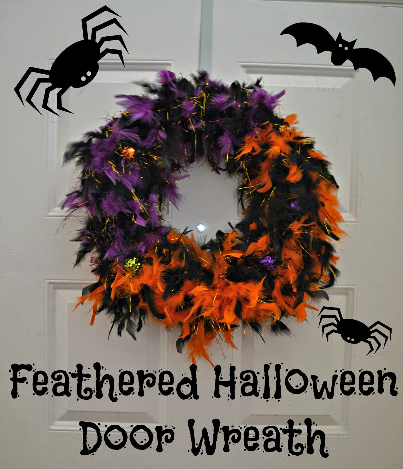 feathered halloween door wreath diy building our story. Black Bedroom Furniture Sets. Home Design Ideas