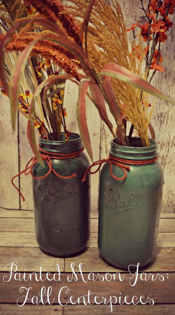 Painted Mason Jars Fall Centerpieces.  How to paint mason jars.  Can you paint mason jars.  How to make antique looking mason jars.  Creative Fall Decor.  Harvest decorations.  Fall centerpieces. DIY