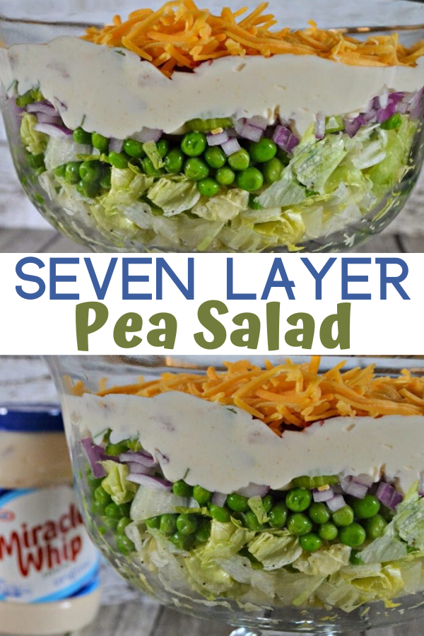 7 Layer Pea Salad Recipe, Traditional 7 Layer Pea Salad Recipe. Salad recipes. Side dishes. Pea Salad recipe with MIRACLE WHIP or Mayo, summer salad recipes