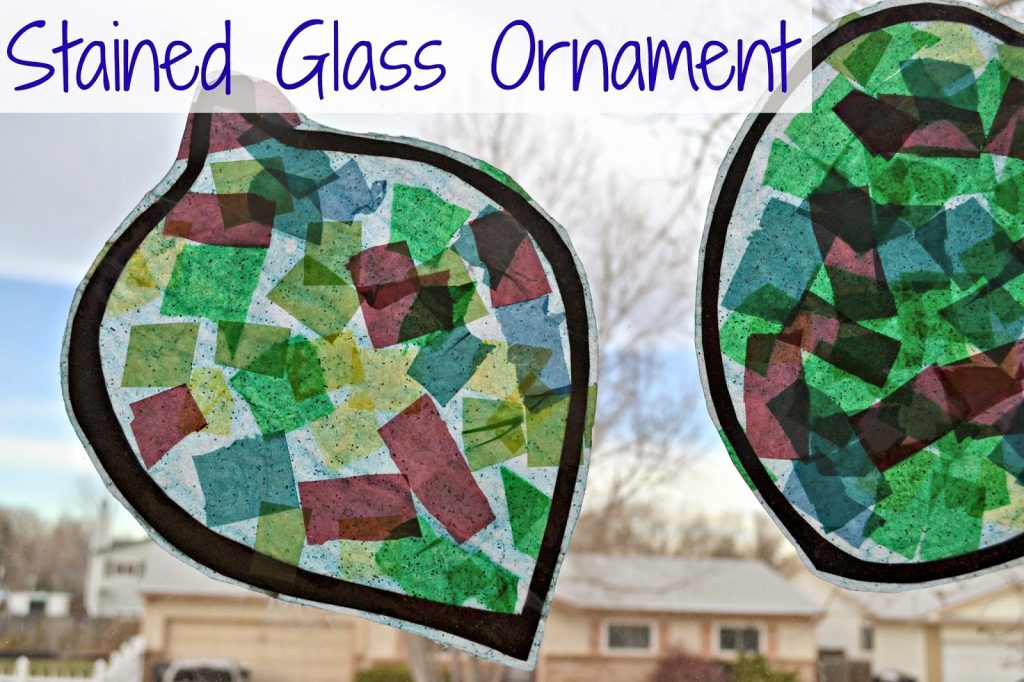 Ornament Stained Glass - Preschool Christmas Craft Idea. Stained Glass Crafts for kids.  Tissue Paper Stained Glass Crafts for Christmas
