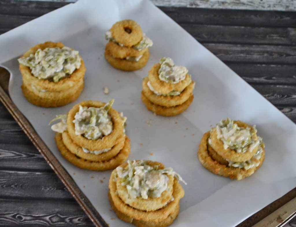 Green Bean Casserole Stuffed Onion Ring Towers #Recipe.  Recipes with Frozen onion rings.  Saffron Mayonnaise recipe.  Mayo Recipes for fries.  Alexia Frozen Fries and Crispy Onion Rings