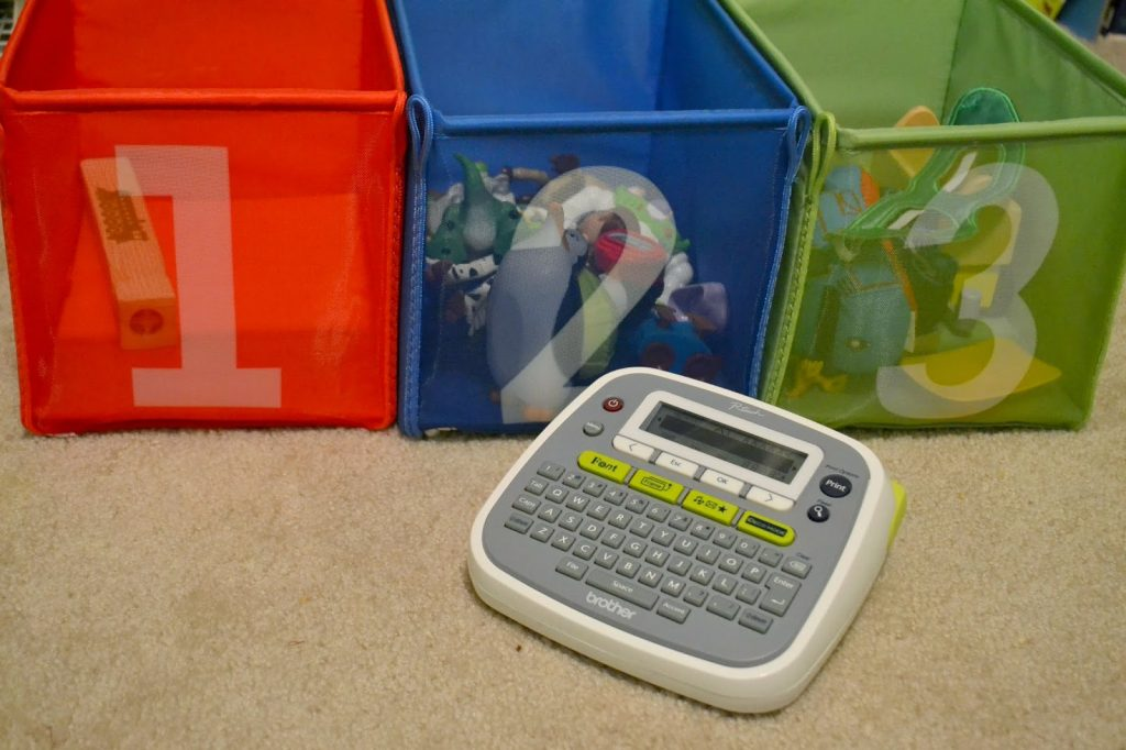 Tips for Organizing and Purging the Playroom - Let's Get Organized!.  Get Organized with a Label Maker.  P-Touch Label Maker by Brother.  Brother Label Makers.  Label Maker Giveaway.  Organizing Tips for Playrooms.  Toy Room tips.