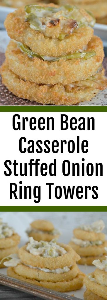 Green Bean Casserole Stuffed Onion Ring Towers #Recipe.  Recipes with Frozen onion rings.  Saffron Mayonnaise recipe.  Mayo Recipes for fries.  Alexia Frozen Fries and Crispy Onion Rings, game day recipes, creative appetizers for football party, football party food