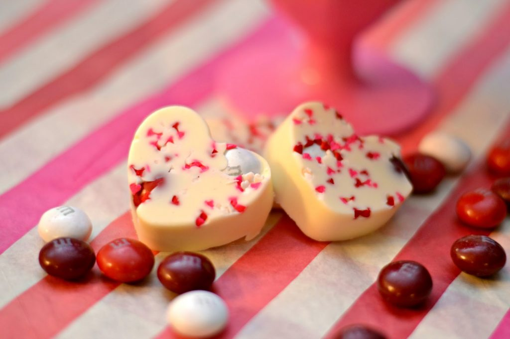 Celebrate friendship on Valentine's Day with M&M's® Red Velvet.  Red Velvet White Chocolate Candies.  Homemade Valentine Candy.