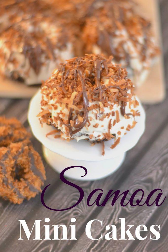 Samoa Mini Cakes.  Samoa recipes.  Samoa inspired recipes.  Samoa cake.  Samoa desserts.