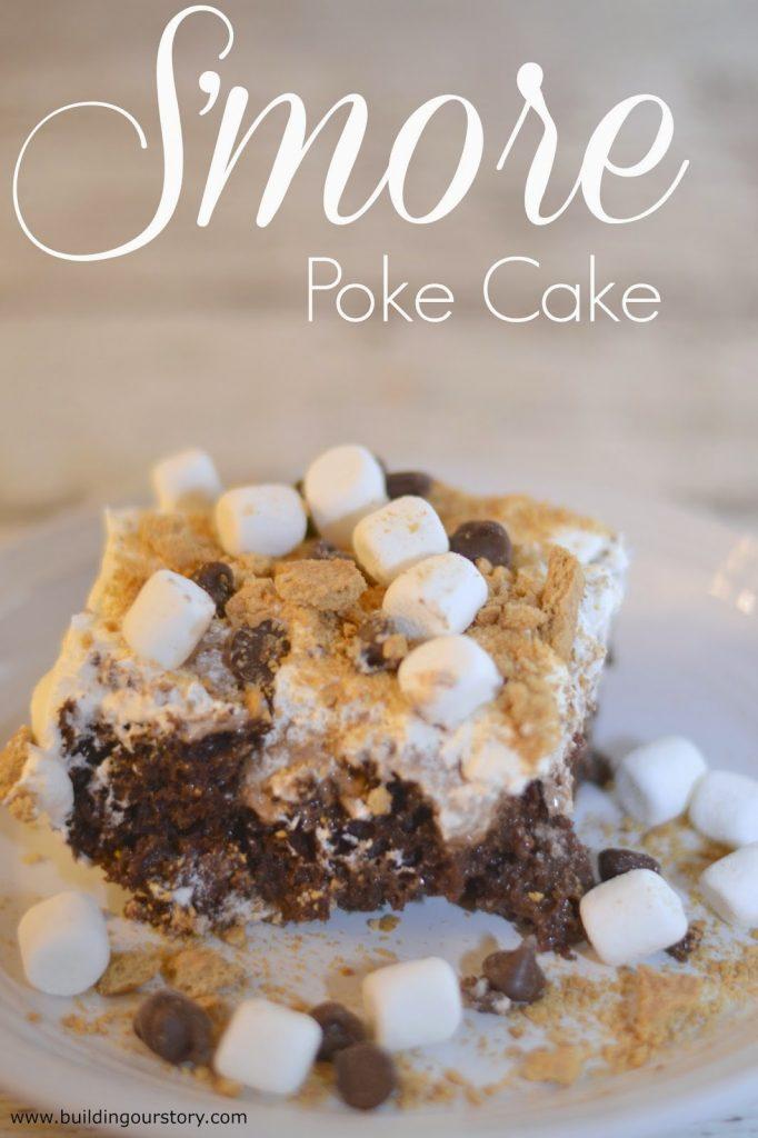 TruMoo Chocolate Marshmallow S'more Poke Cake #Recipe.  S'mores Poke Cake.  Smores cake.  Baking with milk.  Chocolate milk cake.  S'mores desserts.  Smores Desserts.  Poke cake recipes.  Smores poke cake recipe.