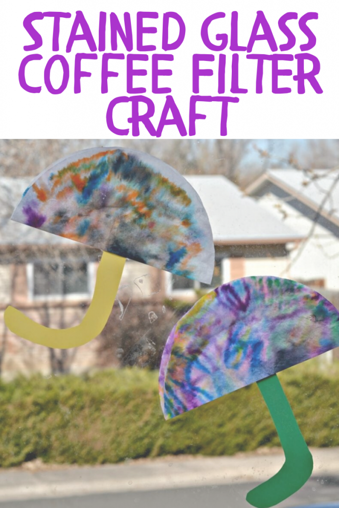 umbrella sun catcher craft, umbrella stained class craft, umbrella sun catcher craft for preschoolers, spring crafts for preschool, easy crafts for spring, coffee filter umbrella craft, crafts with coffee filter