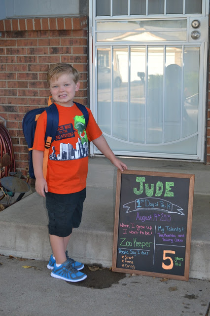 Jude's First Day of School - Pre-K 2015-2016, first day of school chalkboard, first day of school sign, first day of school pictures, easy first day of school picture