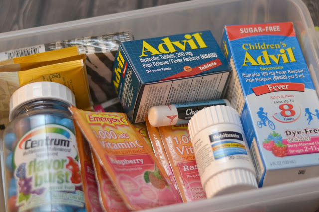 make your own care kits/first aid kits, sick kit, stock up on health items at walgreens