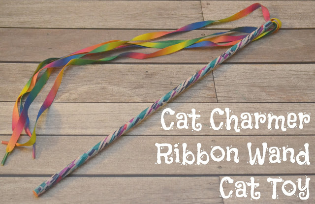 DIY Cat Charmer Ribbon Wand Cat Toy, Make your own cat toy, Purina Muse® Natural Cat Food, Muse Cat food, Purina cat food, DIY Cat Toys, Fun Cat Toys
