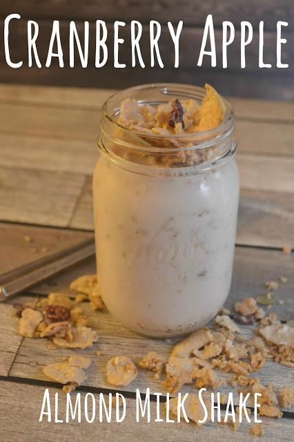 Cranberry Apple Almond Milk Shake #recipe, recipes with Silk Almond Milk, Breakfast smoothies, breakfast ideas, easy smoothies, Yogurt smoothies, Almond Milk smoothies