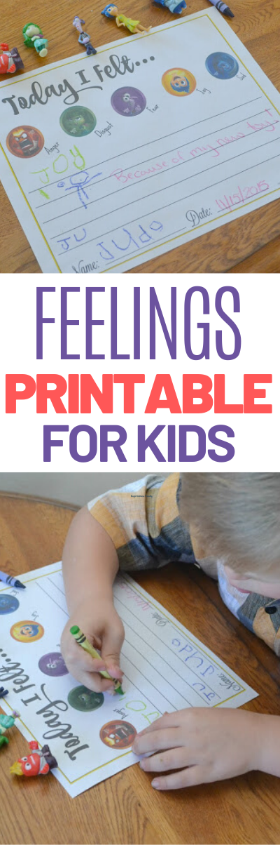 Feelings Journal for kids, feelings printable for kids, feelings worksheet for kids, Add this Inside Out Printable Feelings Worksheet for kids to your routine.  This will help anxious children share their feelings and emotions with you.