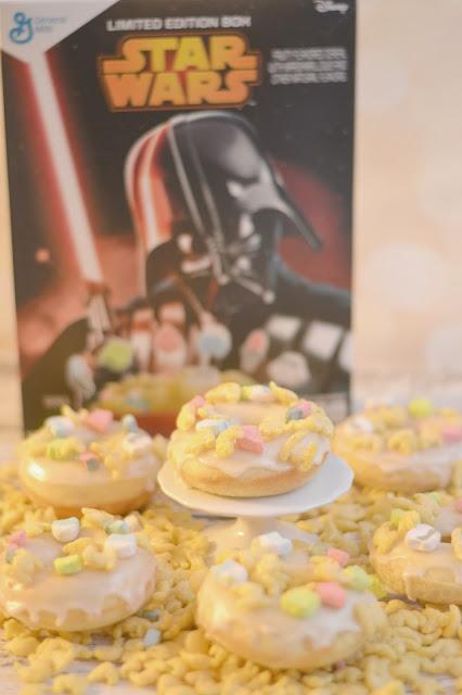 Galactic Vanilla Bean Glazed Donuts, vanilla bean baked donuts, easy baked donuts, easy baked donut recipe, donut recipes, vanilla donuts, Star Wars recipes, fun star wars recipes, Darth Vader cereal, vanilla bean doughnuts, vanilla bean doughnut recipes