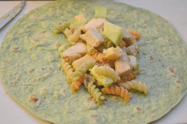 Italian Grilled Chicken Avocado Pasta Wrap, Tyson® Grilled & Ready® Chicken Breast Strips, easy chicken wraps, wrap recipes, pasta salad recipes, chicken pasta salad
