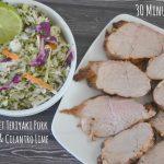 Grilled Sweet Teriyaki Pork Tenderloin & Cilantro Lime Coleslaw