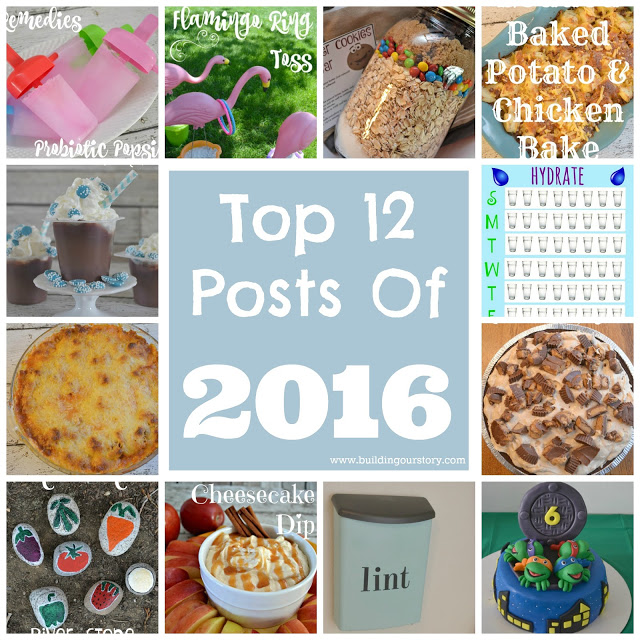 top blog posts of 2016, top recipes of 2016, Laundry Room Lint Bin , Probiotics Popsicle For Kids  , Hand Painted River Stones Garden Markers , Monster Cookies in a Jar , Flamingo Ring Toss , Peanut Butter Pie , Caramel Cheesecake Dip , Hot Cocoa Snack Pack Treat, Loaded Baked Potato Chicken Casserole Bake, Spaghetti Pie, Free Printable Water Tracker , Ninja Turtle Birthday Party