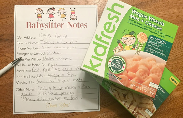 Using Kidfresh Meals For An Easy Night Out, Kidfresh Frozen Meals, Kidfresh kids meals, date night printable, babysitter printable, babysitter notes printable, notes for the babysitter printable