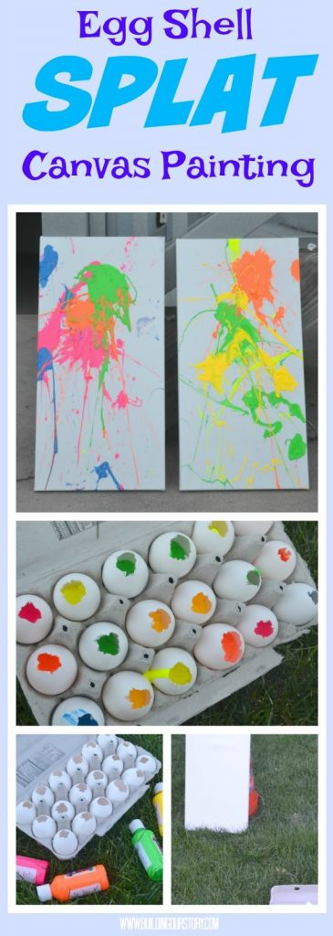Egg Shell Splat Canvas Painting, Egg Shell craft, canvas paintings for kids, Egg shell painting activity, easy outdoor crafts for kids, easy outdoor crafts, outdoor crafts for kids, Splat Canvas Paintings