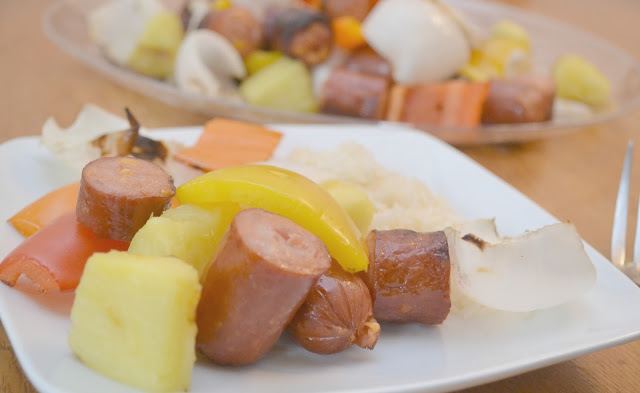 Eckrich Smoked Sausage and Veggie Kabobs, grilling recipes with sausage, Smoked sausage on the grill, sausage kabobs, easy grilling recipes, summertime grilled dinners, grilled meals, grilled sausage, grilled smoked sausage, Smoked Sausage and veggies