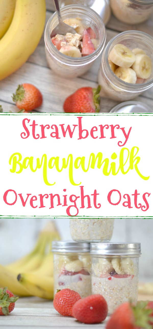Strawberry banana overnight oats, overnight oats recipe, easy overnight oats, strawberry bananamilk overnight oats, how to make overnight oats, banana overnight oats, easy breakfast recipes, easy breakfast ideas for kids, Sir Bananas Bananamilk