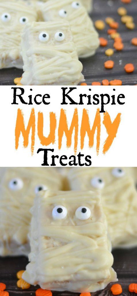 Mummy Rice Krispie Treats, creative halloween desserts for kids, halloween rice krispie treats, mummy treats, halloween desserts, easy halloween desserts