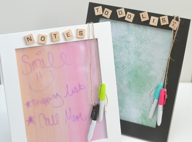 Dry Erase Message Board Picture Frame - #DIY Teacher Gift, Dry Erase Message Board Picture Frame, crafts with Scrabble pieces, easy DIY teacher gifts, DIY Christmas gifts for teachers, DIY christmas gifts, easy Christmas gifts for teachers, Teacher gifts, dry erase picture frame, picture frame gifts