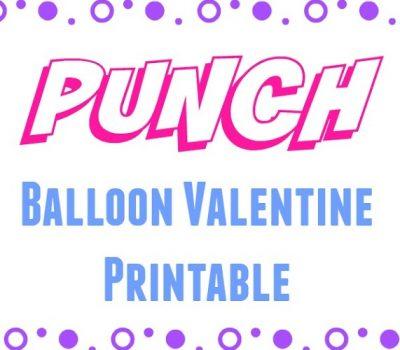 Punch Balloon Valentine Printable