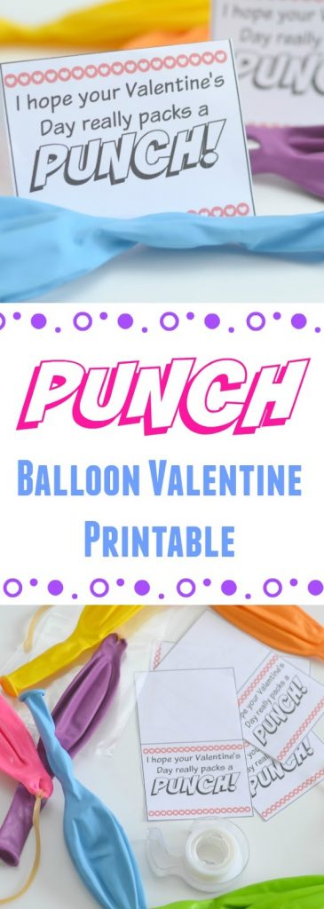 "Candy-free Valentines, Punch Balloon Valentine Printable, printable valentines, free printable valentines for kids, easy Valentines for kids, ""I hope your Valentines's Day really packs a PUNCH"" printable, Punch Balloon crafts, DIY candy free valentines, Valentine's Day printables, Valentine's for kids,"
