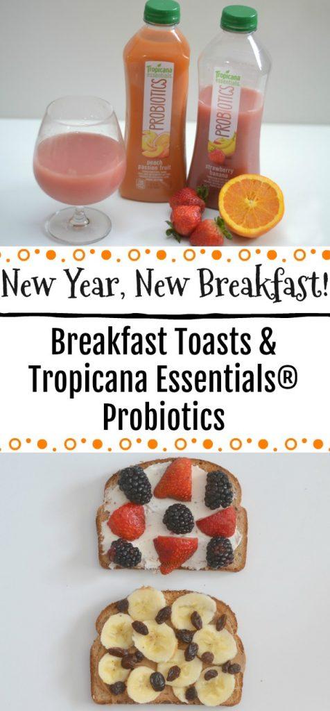 Easy breakfast ideas, breakfast toasts, breakfast toast recipes, Peanut Butter, Banana and Raisin Breakfast Toast, Berry and Cream Cheese Breakfast Toast, Tropicana Essentials® Probiotics