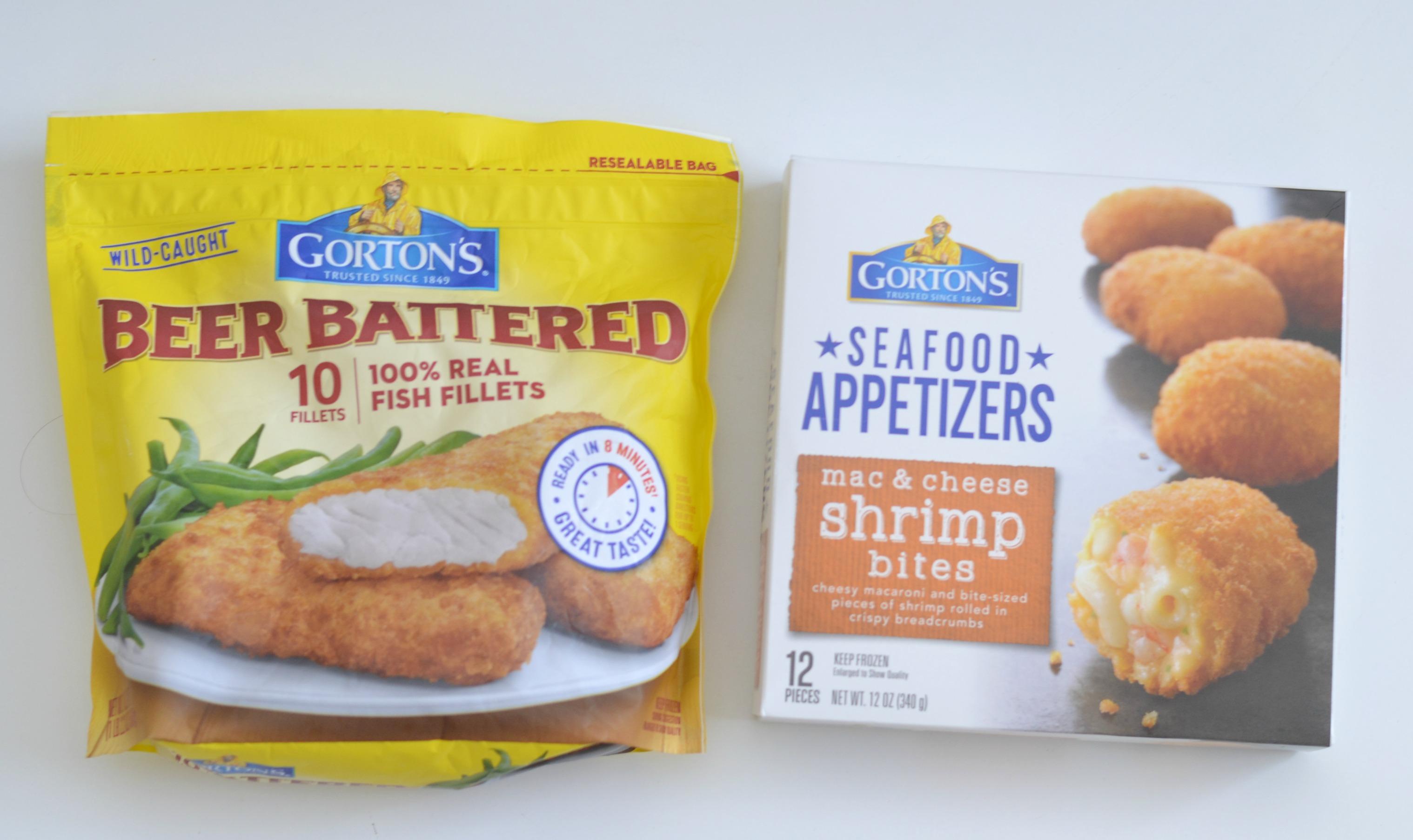 Shrimp Appetizer ideas, Gorton's Seafood Appetizers - Mac n Cheese Shrimp Bites, Easy Fish Parmesan Casserole, lent options for dinner