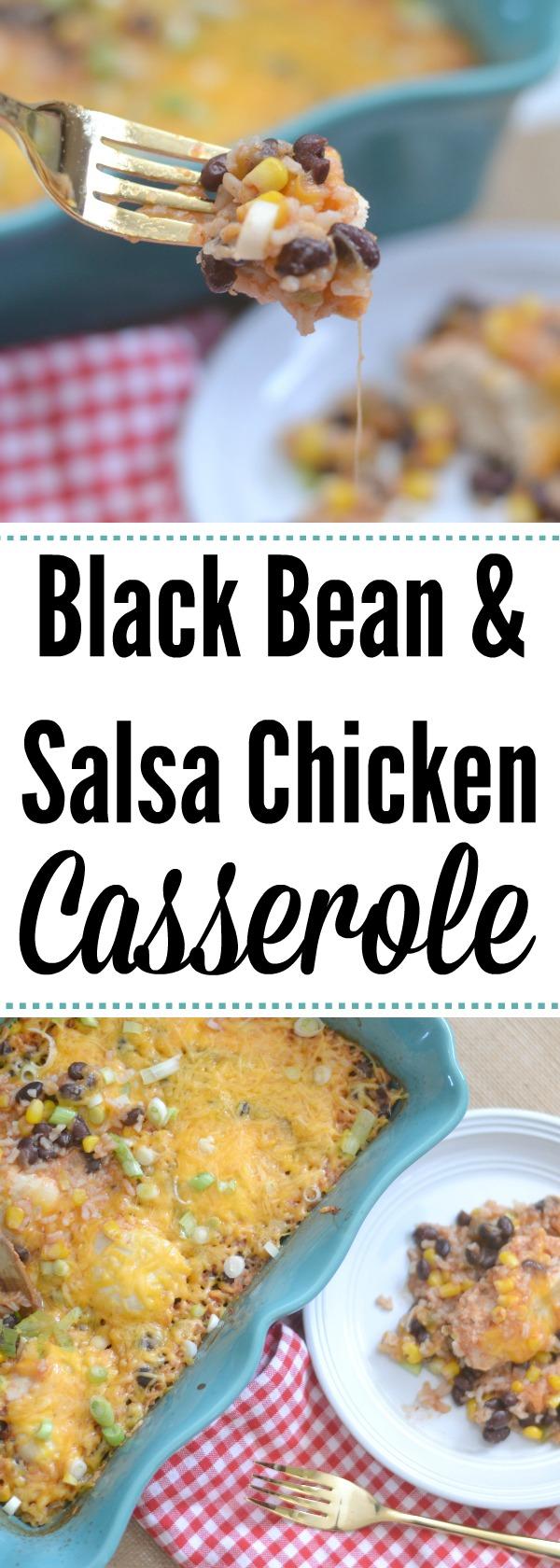 easy casserole recipes, salsa chicken recipes, salsa chicken casserole recipe, one pan chicken recipe, black bean salsa chicken casserole, recipes using black beans, easy dinner recipes, dinner casseroles