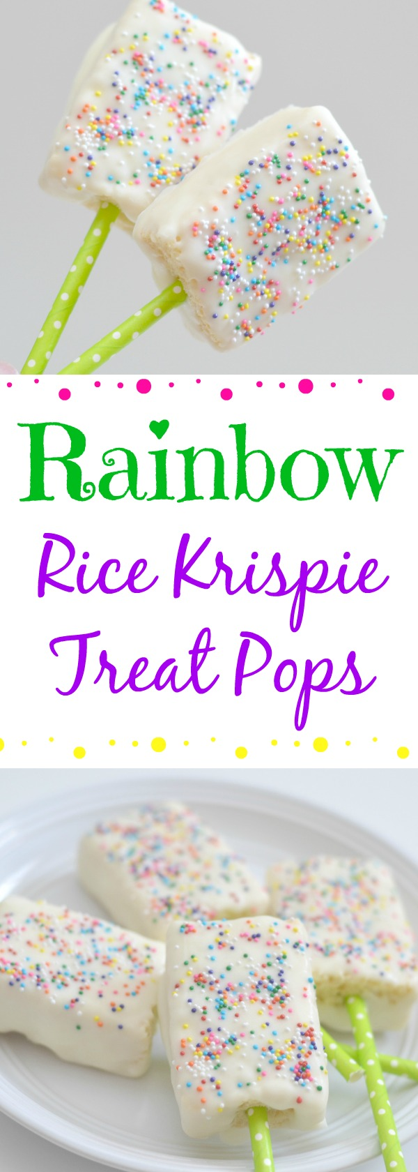 Rainbow Rice Krispie Treat Pops recipe, easy rainbow desserts, easy desserts, chocolate covered rice krispie treats, rice krispie treat pops, rainbow rice krispies, st. patricks day desserts, st. patricks day treats, easy st. patricks day recipes