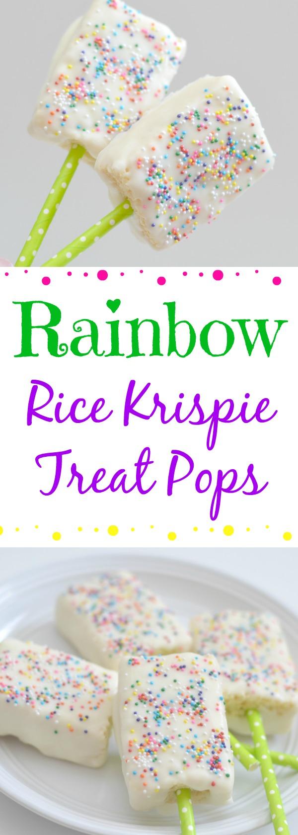 Rainbow Rice Krispie Treat Pops recipe, easy rainbow desserts, easy desserts, chocolate covered rice krispie treats, rice krispie treat pops, rainbow rice krispies, st. patricks day desserts, st. patricks day treats, easy st. patricks day recipes