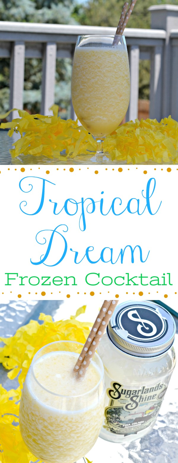 Tropical Dream Frozen Cocktail, easy frozen drinks, cocktails using moonshine, moonshine, summer cocktails using moonshine, frozen summer cocktails, cocktails for summer parties, Refreshing Summer Cocktail With Sugarlands Distilling Company,