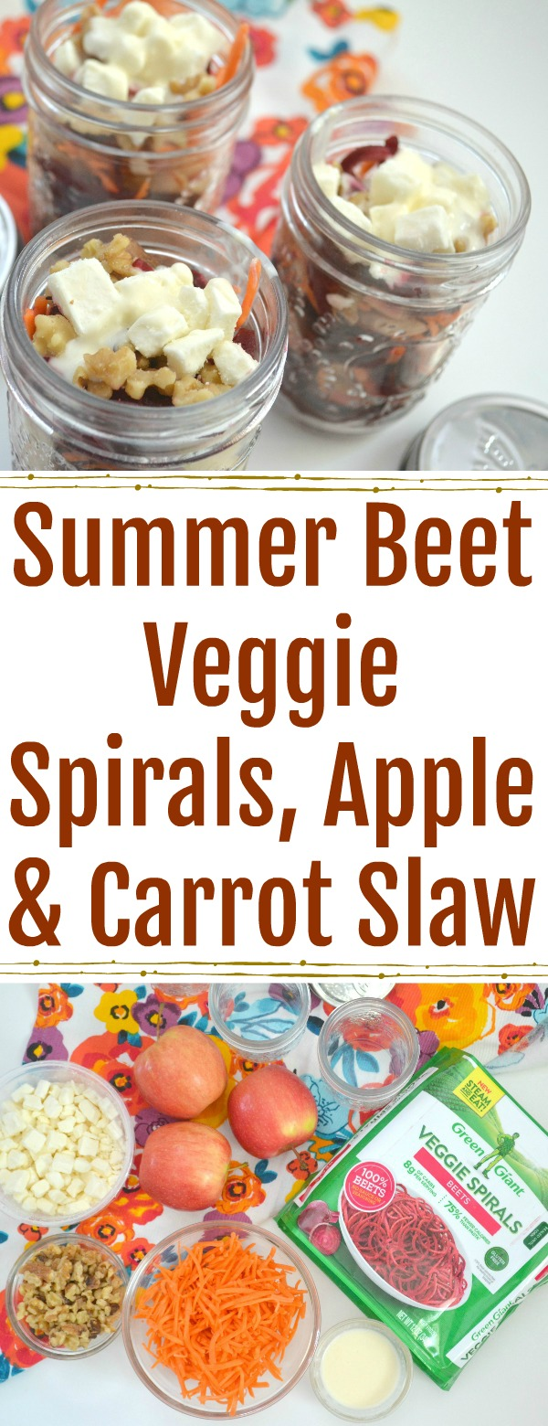 how to make Summer Beet, Apple & Carrot Slaw, Summer Beet, Apple & Carrot Slaw recipe, easy slaw recipes, apple slaw, recipes using beet spirals, beet spirals, beet veggie spirals, veggie slaw, summer slaw recipes