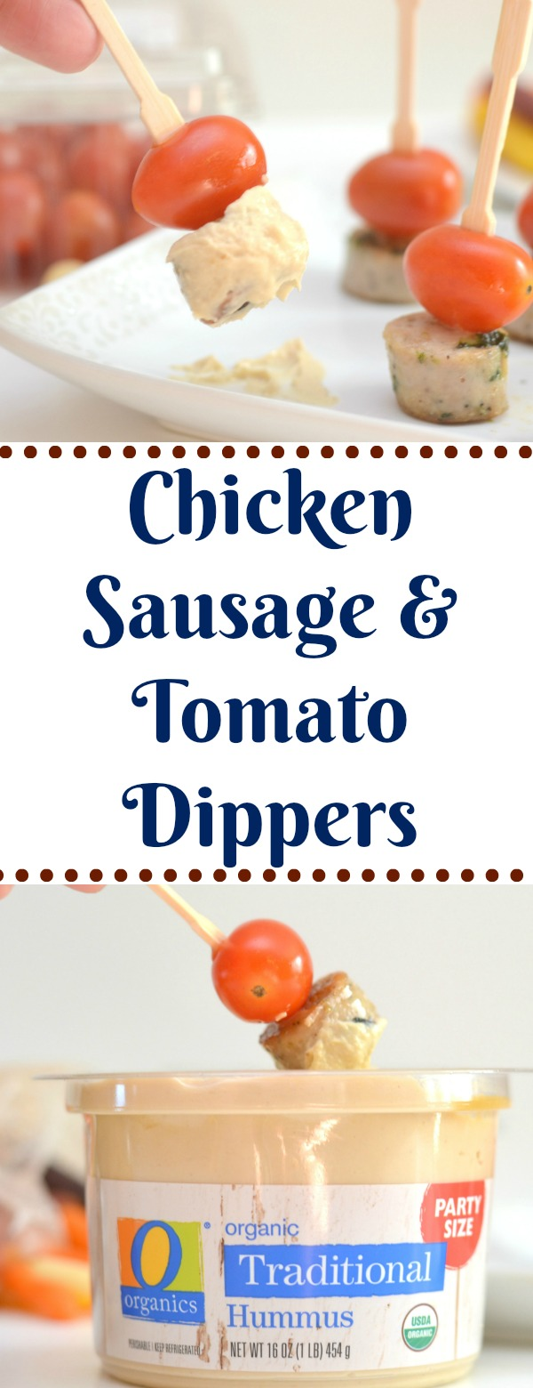 Chicken sausage and tomato dippers recipe. easy after school snacks, snack recipes, chicken sausage in recipes, tomato recipes, kid friendly recipes, school snack ideas, after school snack ideas, sausage and tomato recipes, chicken sausage and tomato skewers, easy skewer snacks, O Organics from Safeway
