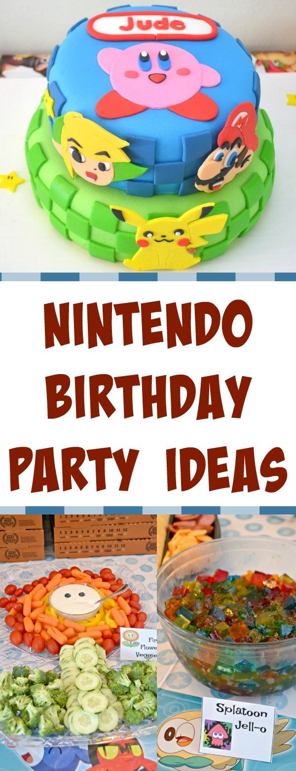 Nintendo party ideas, Nintendo birthday party, Nintendo themed birthday party, video game party ideas, Nintendo themed party decorations, Nintendo themed party food, pokemon birthday party, Zelda birthday party, Mario Bros party, Kirby birthday party, video game themed birthday party