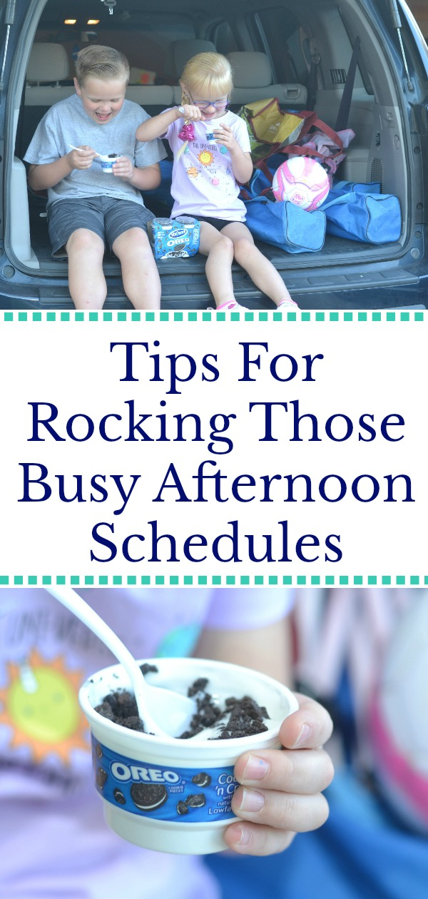 Tips for rocking those busy afternoon schedules, snack ideas for after school, after school snacks, yogurt snacks, tips for planning after school activities, tips for surviving after school activities, parenting