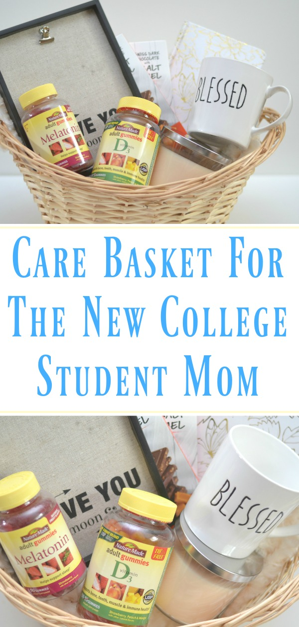 Care Basket for the new college student mom, sending your kids away to college. How to deal with your kids going off to college, parents sending kids to college, tips for parents sending their kids to college.