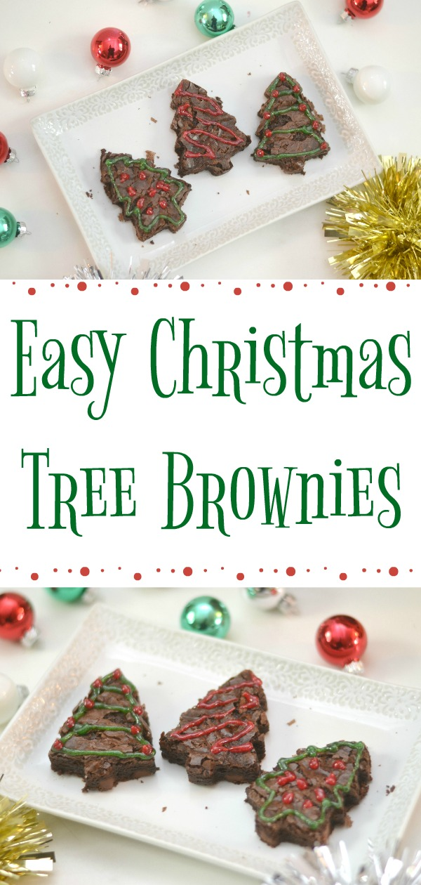 Easy Christmas Tree Brownies, holiday desserts, easy Christmas desserts, christmas tree brownies, Easy Christmas Tree Brownies for dessert. Using a box mix of brownies, gel cookie frosting and a cookie cutter you can create some fun holiday themed brownies easily!