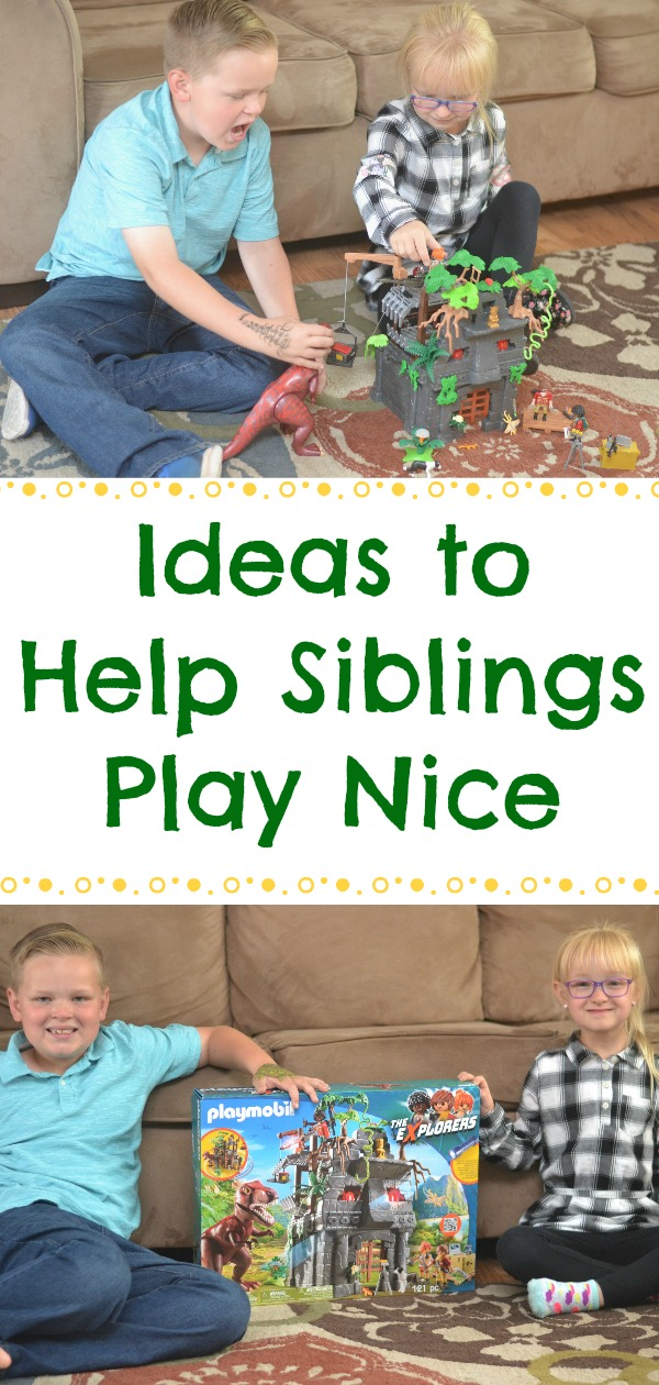 Use these ideas to help siblings play nice. Using Imaginative Play To Help Siblings Play Nicely Together. sibling conflict, tips on how to deal with sibling conflict, tips for siblings to play together, siblings playing nice