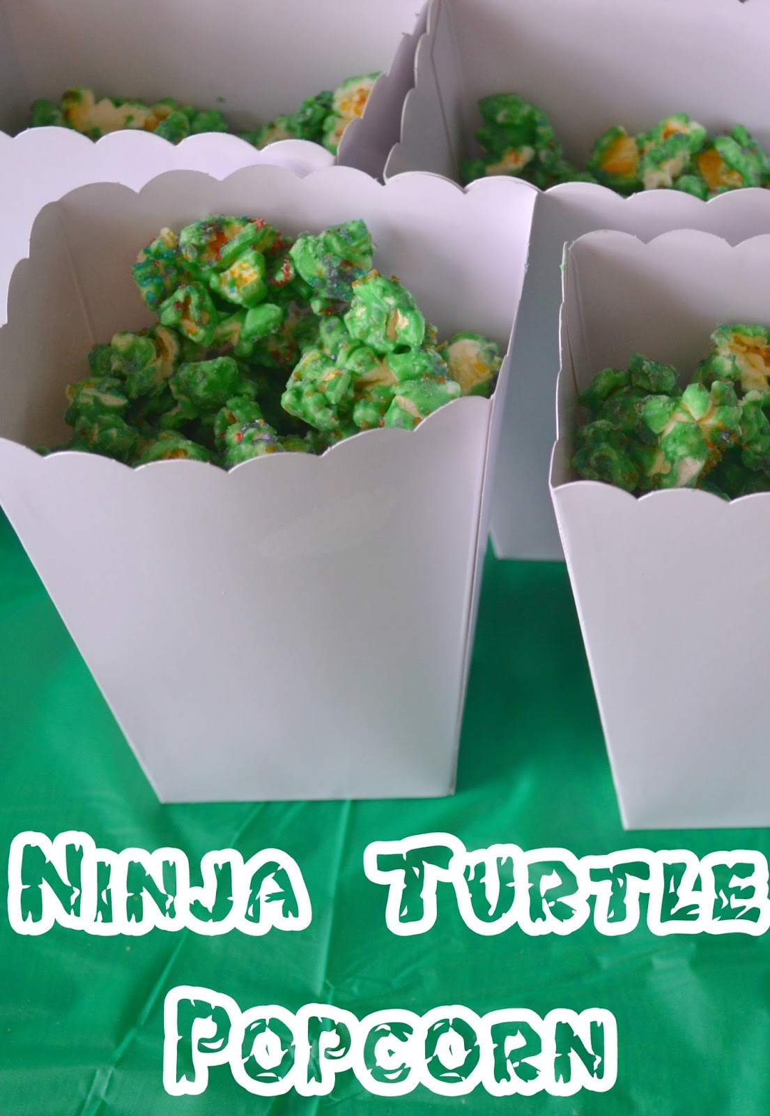 Ninja Turtle Popcorn Recipe, easy popcorn recipe, ninja turtle party ideas, TMNT party, Teenage Mutant Ninja Turtle birthday party,