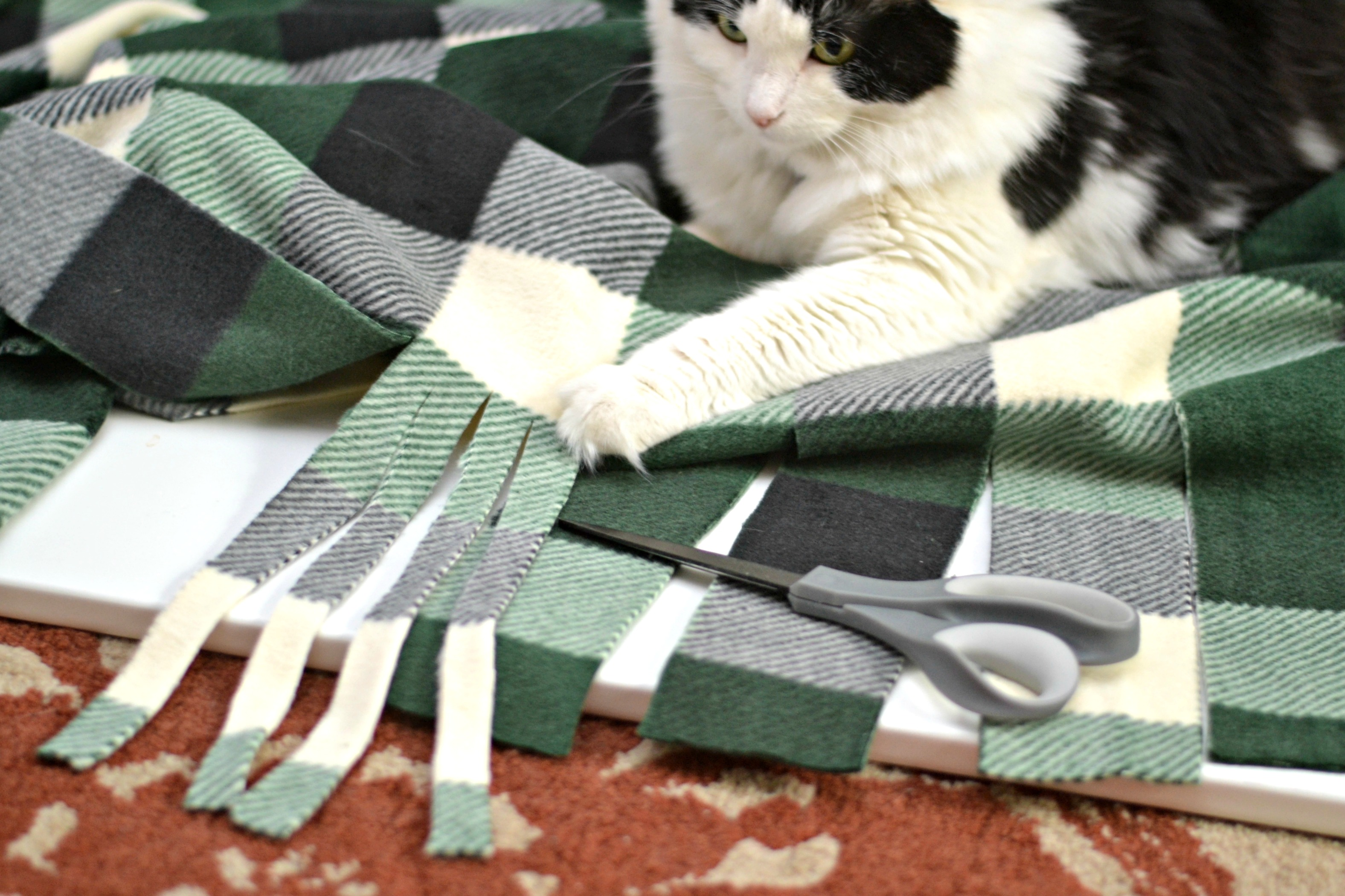 No sew blanket, no-sew blanket DIY, DIY no sew blanket, no sew fleece blanket, cozy fleece blanket, how to make your own cozy throw, how to make your own no-sew blanket, diy NO SEW throw blanket: how to make a gorgeous, cozy throw for less than $10!