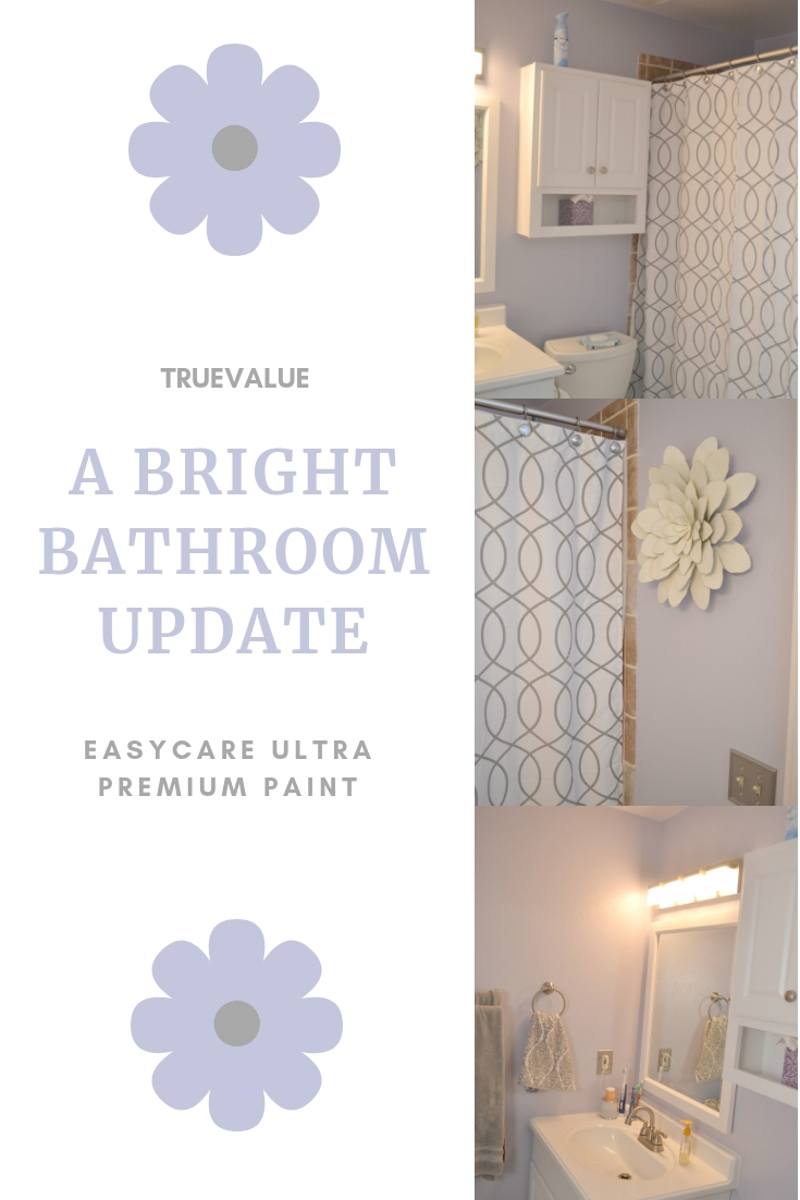 See our Bathroom Update. When doing updates to your home, painting is the fastest way to spruce up a space. Learn how usingEasyCare Ultra Premium Paint not only makes painting easier but healthier for the whole family. purple bathroom decor, easy updates for a bathroom, bathroom decor, DIY bathroom remodel.