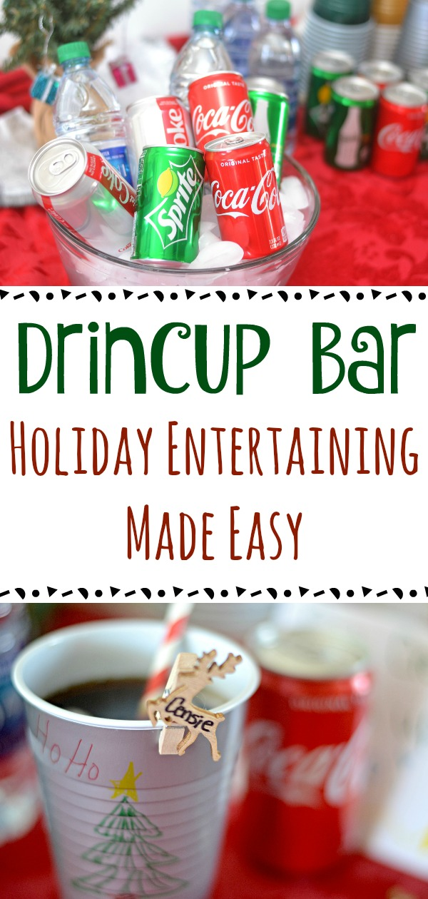 Adding this fun holiday drink bar to your next holiday gathering will have your guests asking you for your holiday entertaining tips.  Holiday Entertaining Made Easy with this super easy to create DrinCup Bar! How to create a drink bar, drink bar ideas, holiday party ideas, Drink Bar, DIY Drink Bar, Easy Drink Bar Idea